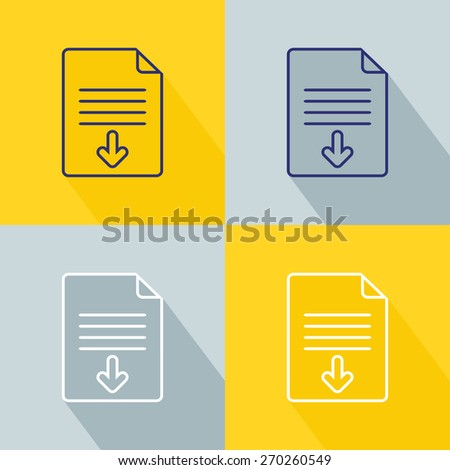 Download document icon set. Vector illustration - stock vector