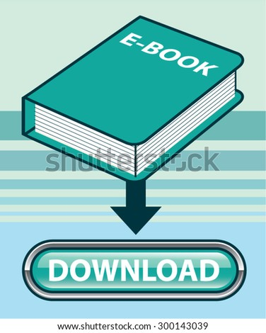 Download Ebook Button with Book Icon Vector - stock vector
