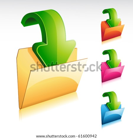 download folder shining icon with color variation - stock vector