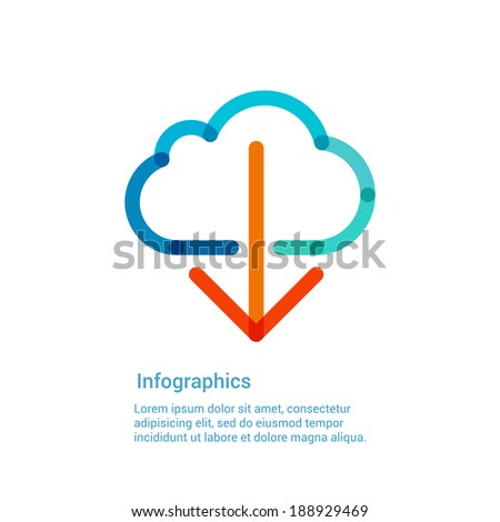 Download from the internet cloud flat line icon infographic illustration template for web, app or brochure. Vector illustration.  - stock vector