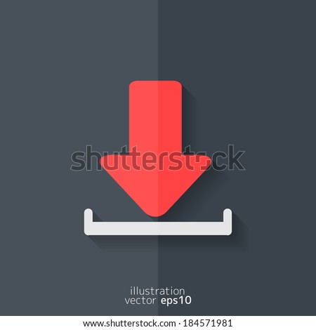 Download icon. Flat design. - stock vector