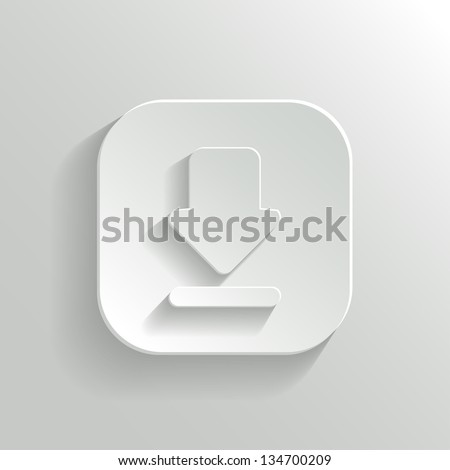 Download icon - vector white app button with shadow - stock vector