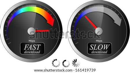 Download / upload speedometer. Fast/Slow speed + 3 progress download icons. Vector Illustration - stock vector