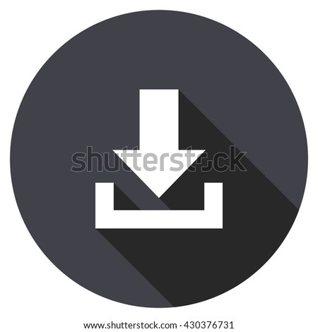 download vector icon, circle flat design internet button, web and mobile app illustration - stock vector