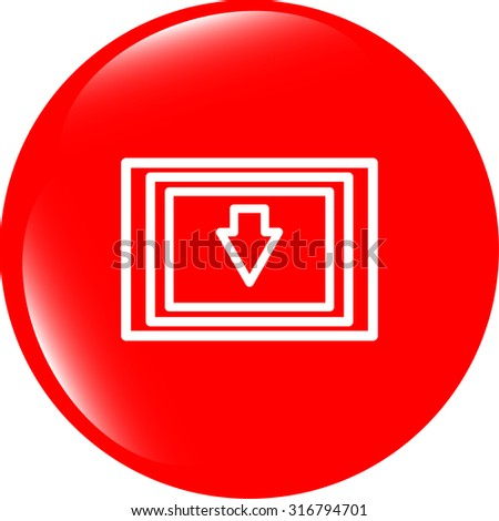 Download web button with arrow and folder vector illustration - stock vector