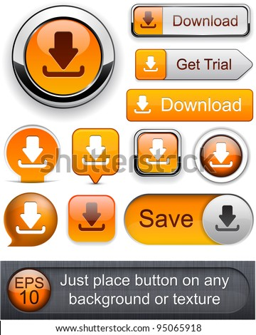 Download web orange buttons for website or app. Vector eps10. - stock vector