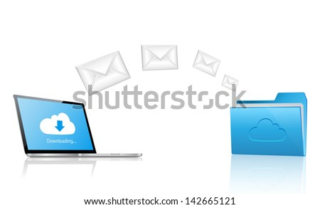 Downloading mail from the cloud folder. Cloud Computing Concept Background.