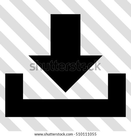 Downloads vector icon. Image style is a flat black pictogram symbol on a hatched diagonal transparent background.