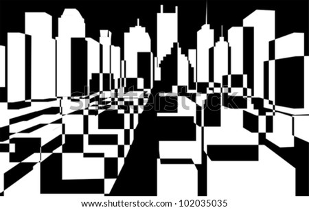 downtown background, vector - stock vector