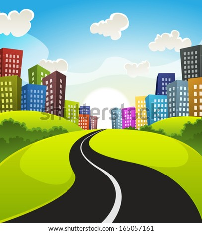 Downtown Cartoon Landscape/ Illustration of a cartoon road driving from fields and meadows landscape to downtown in spring or summer season - stock vector