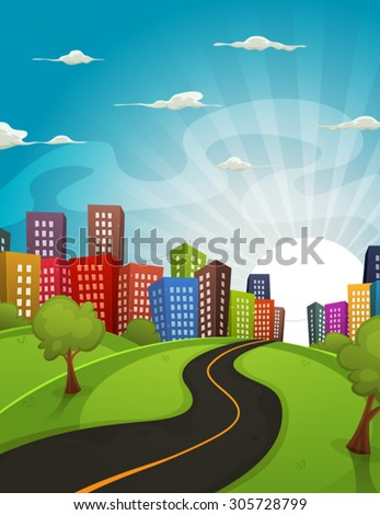 Downtown Cartoon Landscape/ Illustration of a cartoon road driving from fields and meadows landscape to downtown city in spring or summer season, with horizon and sun rising behind - stock vector