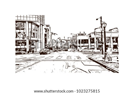 Downtown road with building view of Atlanta City in Georgia, USA. Hand drawn sketch illustration in vector.