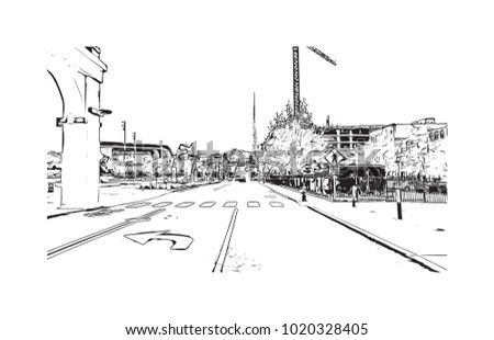 Downtown street view in Nashville, Tennessee, USA. Hand drawn sketch illustration in vector.