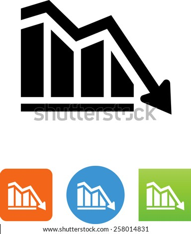 Downward graph symbol. Vector icons for video, mobile apps, Web sites and print projects.  - stock vector