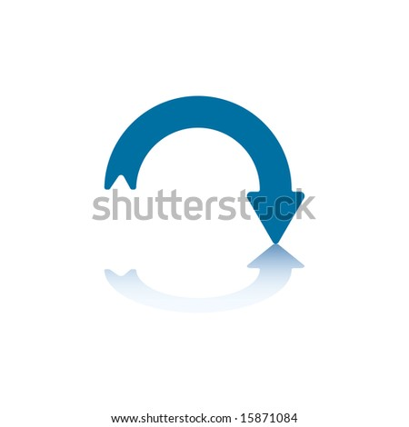 Downwards Curved Arrow With Arrowhead On The Right and Reflection on Bottom - stock vector