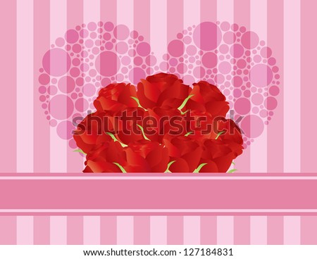 Dozen Red Rose Flowers for Valentines or Mothers Day on Pink Stripes ...