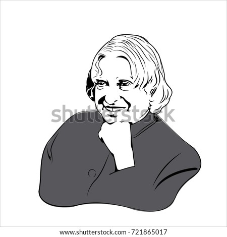 Dr a p j abdul kalam former president of india a simple sketch on white