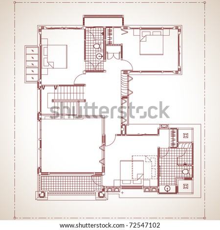 Draft 2 storey residential development. Model applied to the living present. contemporary style [Second floor] - stock vector