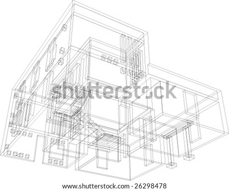 Draft view of the building. House for one family. - stock vector