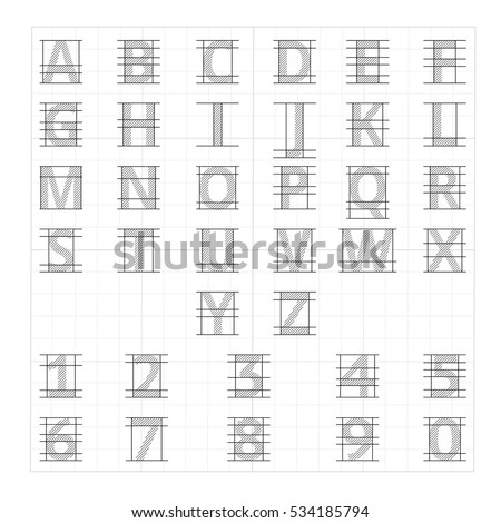 Drafting Paper Alphabet Vector Drawing Sketch Letters Lettering Instructional Illustration Of