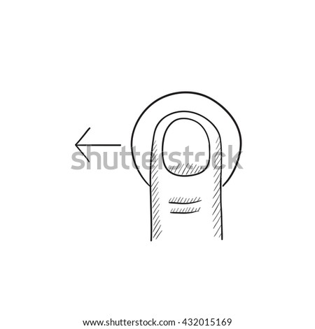 Drag left touch screen gesture vector sketch icon isolated on background. Hand drawn drag left touch screen gesture icon. Drag left touch screen gesture sketch icon for infographic, website or app. - stock vector