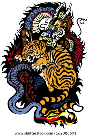 dragon and tiger fighting tattoo illustration - stock vector