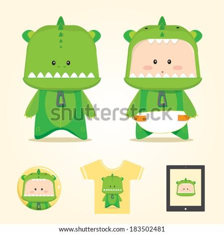 dragon character, costume dragon, cute dragon, baby - stock vector