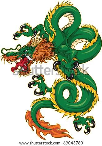Dragon color - stock vector