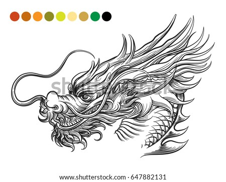 Chinese dragon stock images royalty free images vectors dragon coloring page template with swatches of colors vector illustration ccuart Images