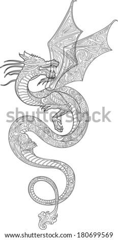 Dragon (contour) - stock vector