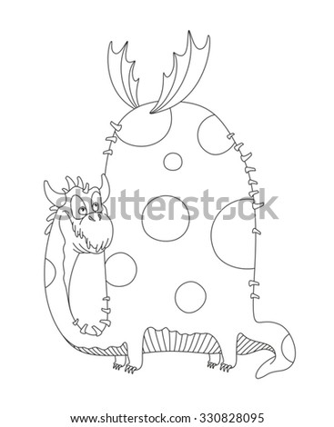 Dragon. Dinosaur. Outline dragon. Vector drawing dragon. Coloring book. Vector illustration coloring page. Drawing dragon on a white background 1.1 - stock vector