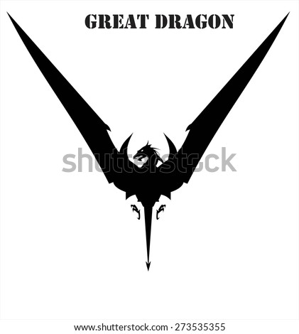 """Dragon. Dragon spreading its wing symbolizing """"Victory"""" - stock vector"""