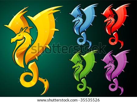 Dragon Emblem - stock vector