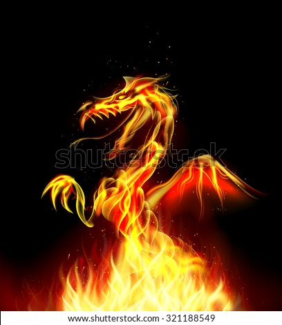 Dragon fire on background. vector - stock vector