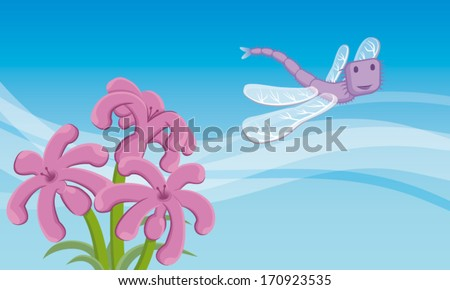 Dragon-fly. A dragonfly flying in the sky. Below, there are three lovely flowers. EPS10 Illustration (file with transparencies and global colors). - stock vector