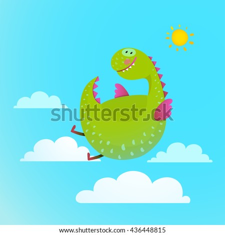 Dragon flying in sky colorful cartoon for kids. Dragon flying fun cute cartoon with clouds and sun background, monster for children, funny happy dinosaur drawing, vector illustration - stock vector