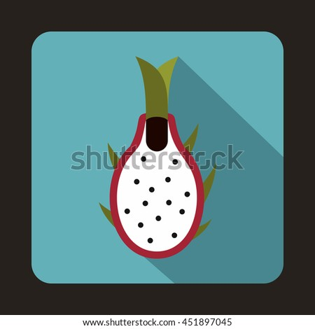 Dragon fruit icon in flat style on a baby blue background - stock vector