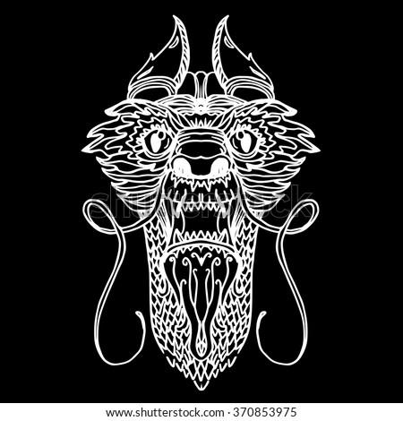Dragon Head in tattoo and cartoon style. Vector - stock vector
