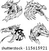 Dragon head tattoos. Set of black and white vector illustrations. - stock vector