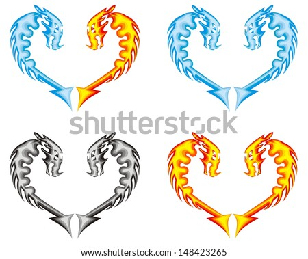 Dragon heart. Fire, water, ashes - stock vector