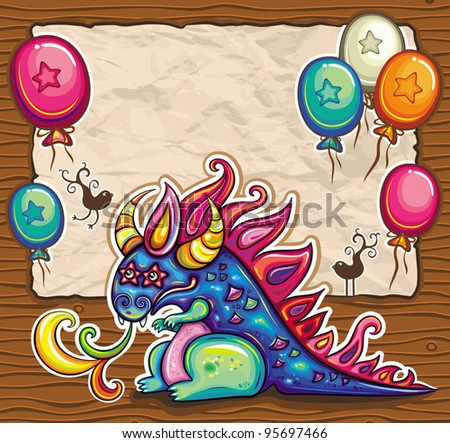 Dragon holiday card. Vector greeting card, banner, framework with cute little, fantasy dragon. Old paper, space for your text - stock vector