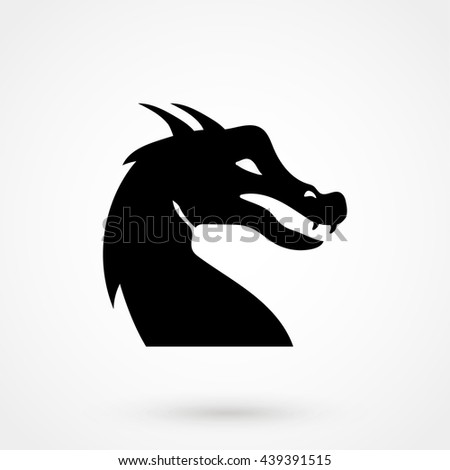 dragon icon on white background in flat style. Simple vector illustration - stock vector