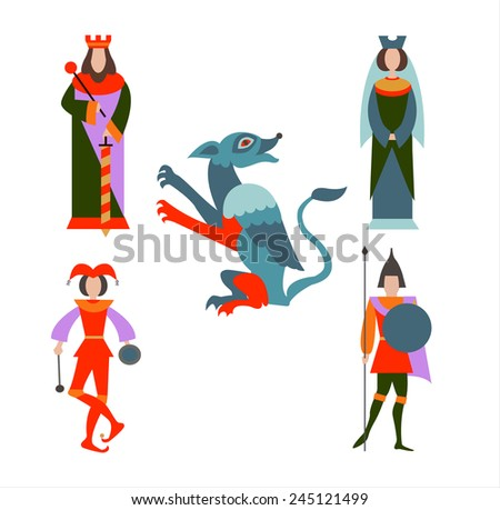 Dragon, king, queen, soldiers and the Fool - stock vector