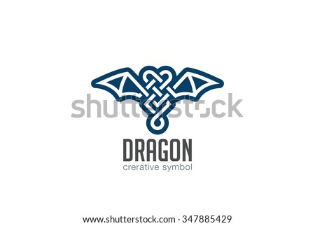 Dragon Logo design vector template. Celtic style Wings Logotype bat concept icon. - stock vector