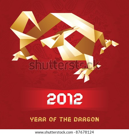 Dragon origami for your design, 2012 Year,  - Gold&Red. More of my work in set Dragons: http://www.shutterstock.com/sets/74171-dragons.html?rid=512323 - stock vector