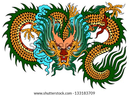 dragon painting chinese style on white background from illustrator - stock vector