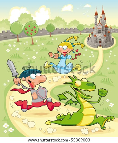 Dragon, Prince and Princess with background. Cartoon and vector scene. - stock vector