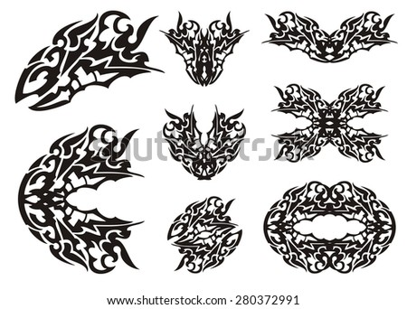 Dragon set in tribal style. Tattoos of the dragon head and dragon butterflies. Black on the white - stock vector