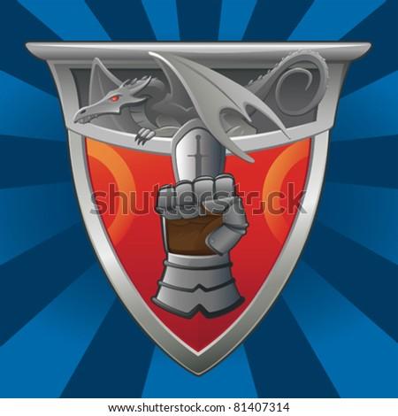 Dragon Shield and Gauntlet - vector - stock vector