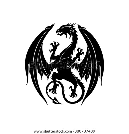 Dragon silhouette. Vector illustration